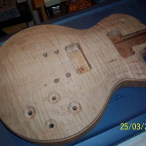 working on a diy lea paul guitar in the making
