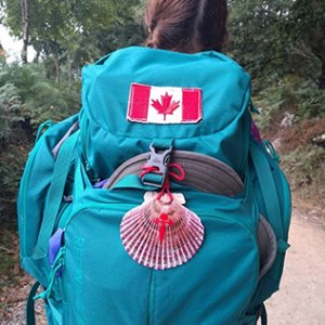 My backpack with Canadian flag and scallop shell, which is one of the marks of the Camino